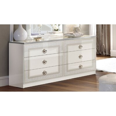 Stirling 6 Drawer Double Dresser Color: White/Silver