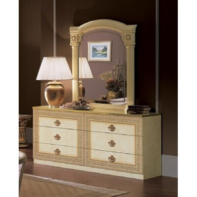 Stirling 6 Drawer Double Dresser with Mirror Color: Ivory/Gold
