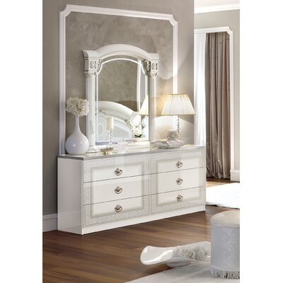 Stirling 6 Drawer Double Dresser with Mirror Color: White/Silver