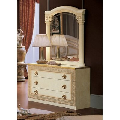 Stirling 3 Drawer Dresser with Mirror Color: Ivory/Gold