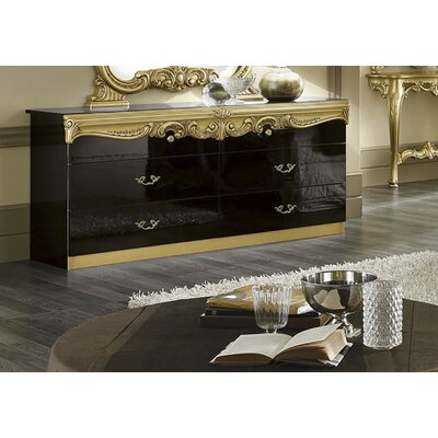 Straitson 6 Drawer Double Dresser Color: Black/Gold