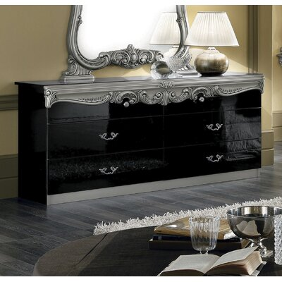 Straitson 6 Drawer Double Dresser Color: Black/Silver