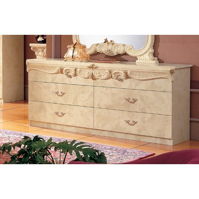 Straitson 6 Drawer Double Dresser Color: Ivory