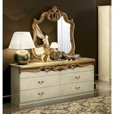 Straitson 6 Drawer Double Dresser with Mirror Color: Ivory/Gold