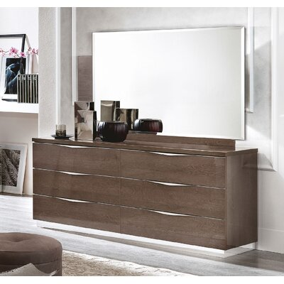 Asberry 6 Drawer Double Dresser with Mirror