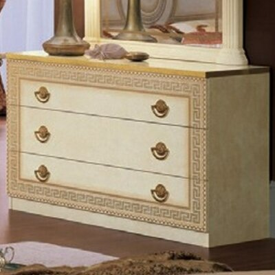 Stirling 3 Drawer Dresser Color: Ivory/Gold