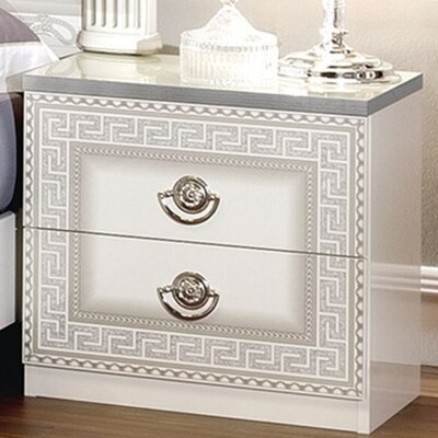 Stirling 2 Drawer Nightstand Color: White/Silver