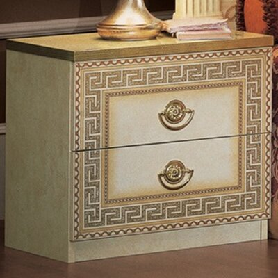 Stirling 2 Drawer Nightstand Finish: Ivory/Gold