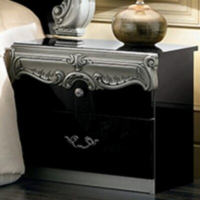 Straitson 2 Drawer Nightstand Finish: Black/Silver