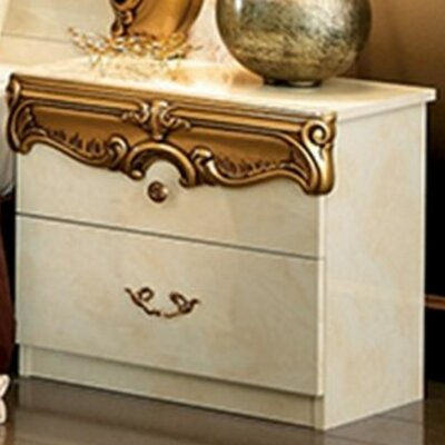 Straitson 2 Drawer Nightstand Color: Ivory/Gold
