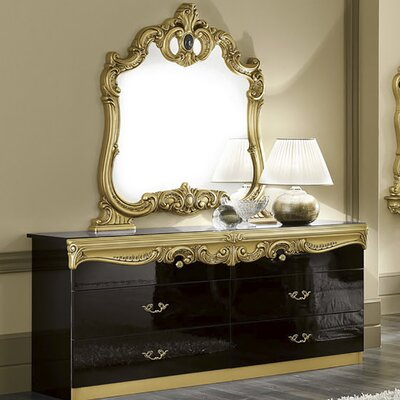 Straitson 6 Drawer Double Dresser with Mirror Color: Black/Gold