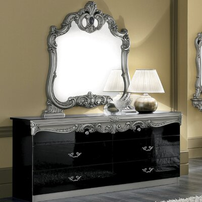 Straitson 6 Drawer Double Dresser with Mirror Color: Black/Silver