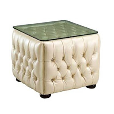 Idina Tufted/Glass Top End Table