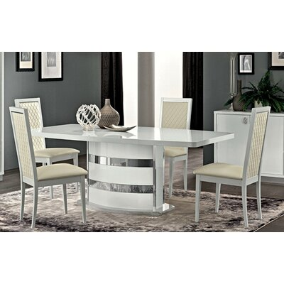 Otterburn Extendable Dining Table Color: White/Chorme