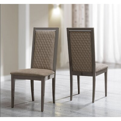 Otterburn Upholstered Dining Chair (Set of 2) Upholstery Color: Silver Birch, Frame Color: Brown