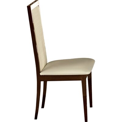 Otterburn Upholstered Dining Chair (Set of 2) Upholstery Color: White, Frame Color: Brown