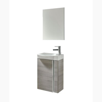 Kegley 18 Single Bathroom Vanity Set with Mirror Base Finish: Gray