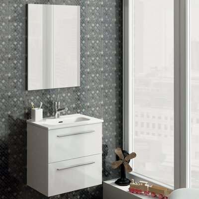 Kegler 20 Single Bathroom Vanity with Mirror Base Finish: White