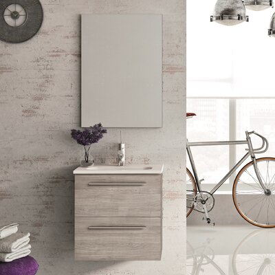 Kegler 20 Single Bathroom Vanity with Mirror Base Finish: Gray