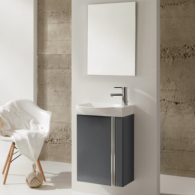 Kegley 18 Single Bathroom Vanity Set with Mirror Base Finish: Anthracite