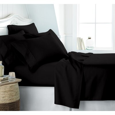 Altjira Plain Bed 4 Piece 100% Cotton Sheet Set Size: California King, Color: Black