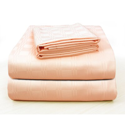 Altieri Luxury Plaid Bed 100% Cotton Sheet Set Size: California King, Color: Peach