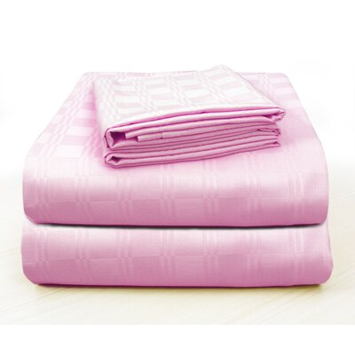 Altieri Luxury Plaid Bed 100% Cotton Sheet Set Size: California King, Color: Baby Pink