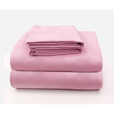Carlene Super Soft Jacquard Designed Bed 100% Cotton Sheet Set Size: California King, Color: Baby Pink