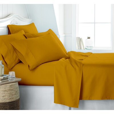 Altjira Plain Bed 4 Piece 100% Cotton Sheet Set Size: California King, Color: Gold