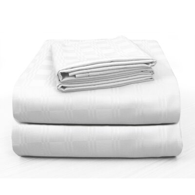 Altieri Luxury Plaid Bed 100% Cotton Sheet Set Size: Queen, Color: White