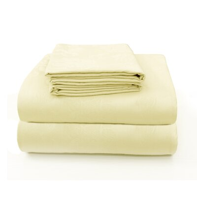 Carlene Super Soft Jacquard Designed Bed 100% Cotton Sheet Set Size: California King, Color: Champagne