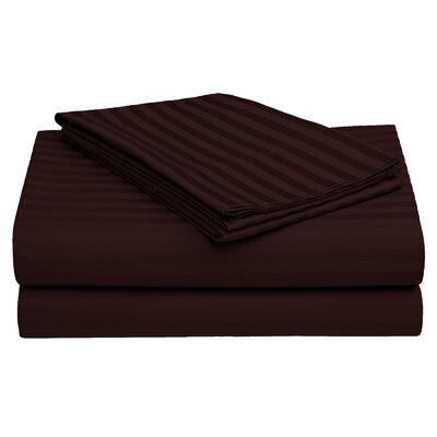 Harding Luxury Dobby Striped Bed 100% Cotton Sheet Set Color: Brown, Size: Twin/Twin XL