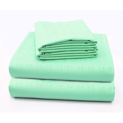 Altair Luxury Embossed Square Bed 100% Cotton Sheet Set Size: Twin/Twin XL, Color: Turquoise