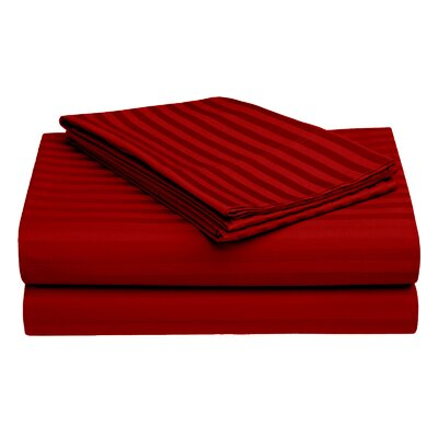 Harding Luxury Dobby Striped Bed 100% Cotton Sheet Set Color: Red, Size: Twin/Twin XL