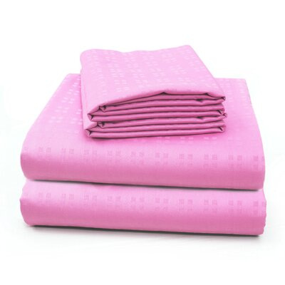Altair Luxury Embossed Square Bed 100% Cotton Sheet Set Size: Queen, Color: Baby Pink