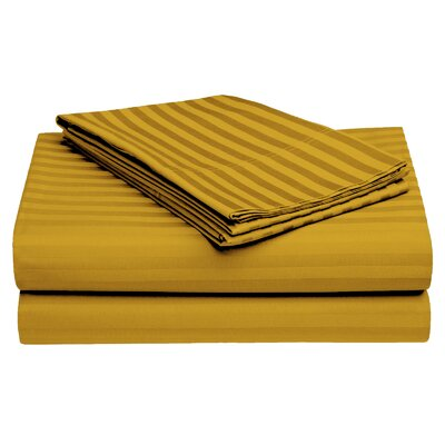 Harding Luxury Dobby Striped Bed 100% Cotton Sheet Set Color: Gold, Size: Twin/Twin XL