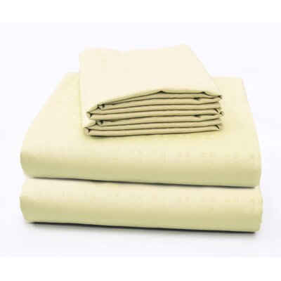 Altair Luxury Embossed Square Bed 100% Cotton Sheet Set Size: Twin/Twin XL, Color: Champagne