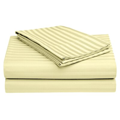 Harding Luxury Dobby Striped Bed 100% Cotton Sheet Set Size: Queen, Color: Beige