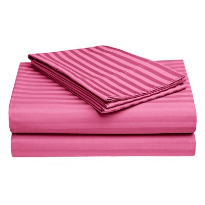 Harding Luxury Dobby Striped Bed 100% Cotton Sheet Set Size: Queen, Color: Hot Pink