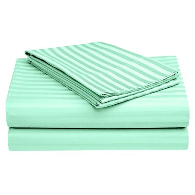 Harding Luxury Dobby Striped Bed 100% Cotton Sheet Set Color: Turquoise, Size: California King