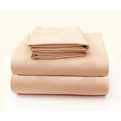 Carlene Super Soft Jacquard Designed Bed 100% Cotton Sheet Set Size: California King, Color: Peach