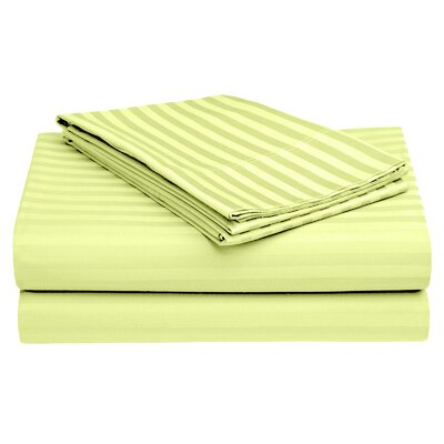 Harding Luxury Dobby Striped Bed 100% Cotton Sheet Set Size: Queen, Color: Nickel Yellow