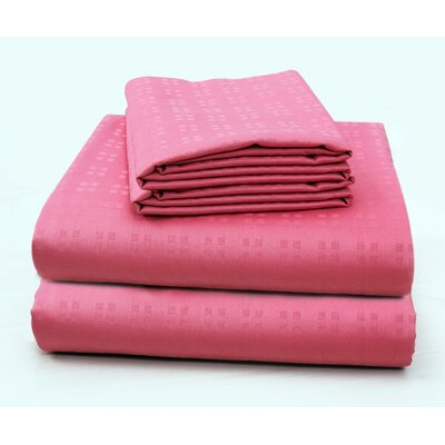Altair Luxury Embossed Square Bed 100% Cotton Sheet Set Size: California King, Color: Hot Pink