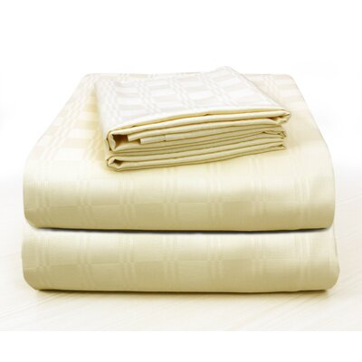 Altieri Luxury Plaid Bed 100% Cotton Sheet Set Size: California King, Color: Champagne