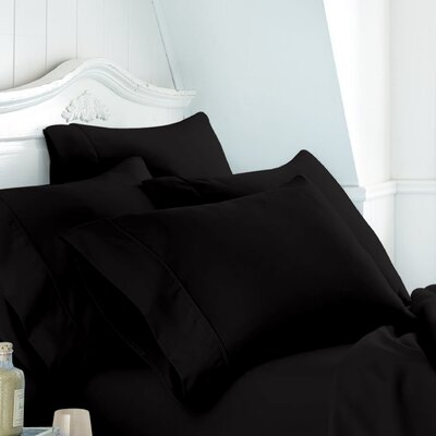 Alula Super Soft Plain Cotton Pillow Case Color: Black