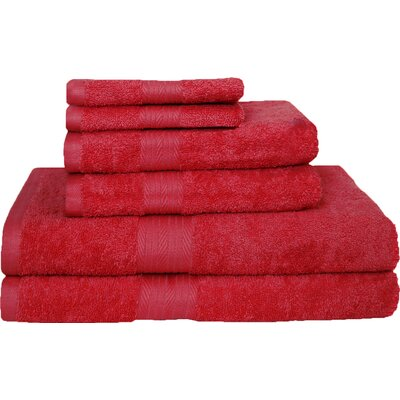 Blended 6 Piece Towel Set Color: Tango Red