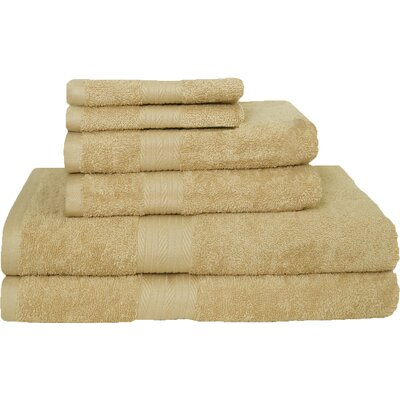 Blended 6 Piece Towel Set Color: Beige