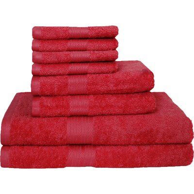 Blended 8 Piece Towel Set Color: Tango Red