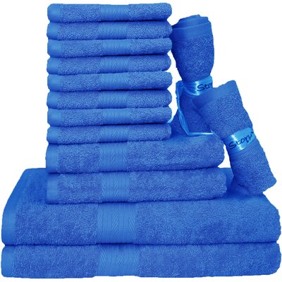 Blended 14 Piece Towel Set Color: Navy