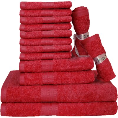 Blended 14 Piece Towel Set Color: Tango Red